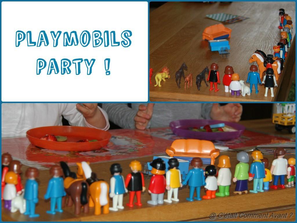 Faire une haie d'honneur de playmobil avant de goûter devant ces admirateurs !