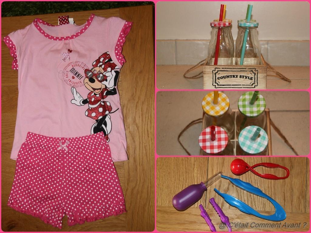 Faire quelques achats (Pyjama Minnie (adieu mes principes!), Mason jar de Casa (merci Feelyli), et pinces pour motricités fines)