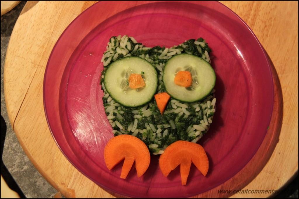 La chouette du dîner (Epinard, riz, carotte, concombre)