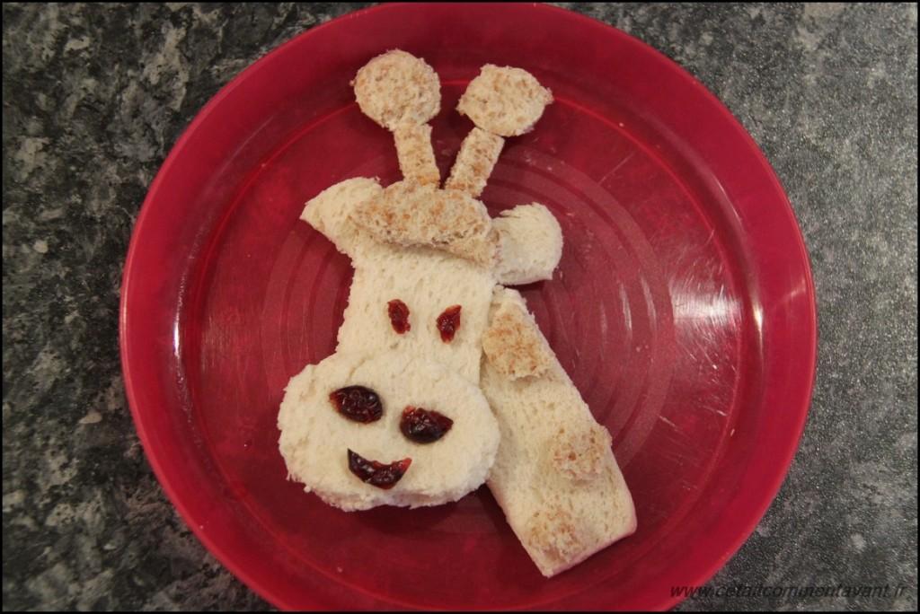 La girafe au grand coup (pain de mie complet et blanc, cranberries)