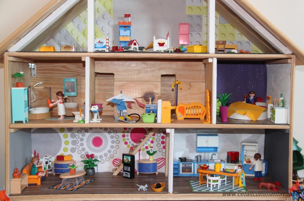 Diy une maison pour playmobil dollhouse diy playmobil diy - Maison en bois playmobil ...